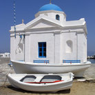 Picture - Church and boat at Mykonos.