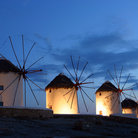 Picture - Windmills at night on Mykonos.