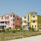 Picture - Colorful houses on the shore in Nags Head, North Carolina.
