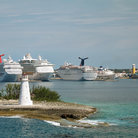 Picture - Nassau harbor with cruise ships.