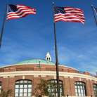 Picture - Navy Pier in Chicago with US flags.