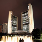 Picture - Night time at the New City Hall in Toronto.