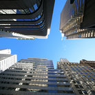 Picture - View of the skyscrapers along Broadway in New York City.