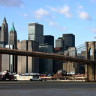Picture - Brooklyn Bridge and New York skyline.