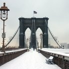 Picture - Snow on the Brooklyn Bridge.