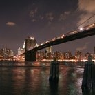 Picture - Brooklyn Bridge at night, New York City.