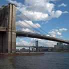 Picture - Brooklyn Bridge over the East River in New York City.