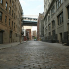 Picture - Cobblestone back street in Brooklyn, New York.