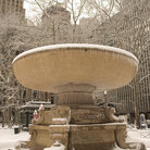 Picture - Fountain sculpture after a snowfall in Bryant Park in New York City.