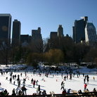 Picture - Central Park Ice-rink with New York City Skyline.
