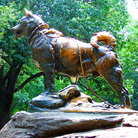 Picture - Statue of Balto next to Winterdale Arch in Central Park, New York City.