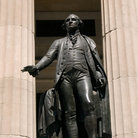 Picture - Statue of George Washington on Wall Street's Federal Hall in New York.