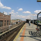 Picture - Open air subway station, Queens, New York City.
