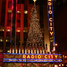 Picture - Christmas display on Radio City Music Hall in New York City.