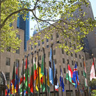 Picture - Flags at Rockefeller Center, New York.