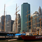 Picture - Ambrose Lightship & tall ship Peking at South Street Seaport in New York.