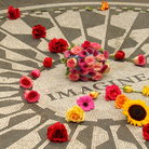 "Picture - Flowers on the ""Imagine"" mosaic, the Strawberry Fields memorial in Central Park, New York City."