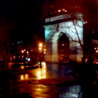 Picture - Washington Square on a wet evening, New York City.