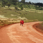 Picture - Red dirt road through Ngorongoro Conservation Area.