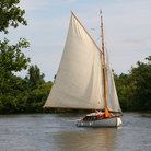 Picture - A small sailboat in the Norfolk Broads.