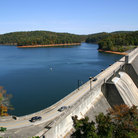 Picture - View over the Norris Dam and Reservoir.