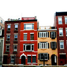 Picture - Row of brick houses in Boston's historical North End.