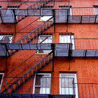 Picture - Fire Escape on a red brick building in Boston's North End.