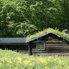 Picture - An old log house at the Norwegian Folk Museum in Oslo.