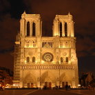 Picture - Notre Dame at night in Paris.