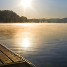 Picture - Mist rising off Melton Hill Lake, Oak Ridge.