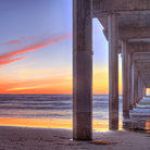 Picture - Sunset seen from under the Pier at Oceanside.
