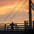 Picture - Sunset over a pedestrian bridge at Perkins Cove.