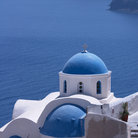 Picture - Blue domed church and the Mediterranean Sea at Oia.