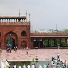 Picture - Worshippers at Jama Masjid mosque.