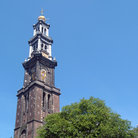 Picture - The Oude Kerk Tower in Amsterdam.