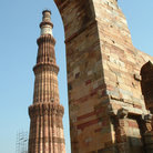 Picture - Arch and Muslim column of Qtab Minar in New Delhi.