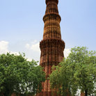 Picture - The red standstone tower of Qutub Minar in Delhi.