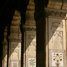 Picture - Semi precious stones in the marble columns of the Red Fort in Delhi.