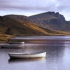 Picture - Boats in front of the Old Man of Storr.