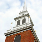 Picture - Old North Church Spire (1723) where lanterns were hung to signal Paul Revere, Boston, MA.