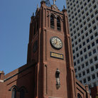 Picture - The tower and clock of Old St Mary's Church in Chinatown, in San Francisco.