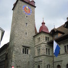 Picture - The clock tower of Rathaus in Kormarktplatz in Lucerne.