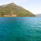 Picture - The turquoise waters of Crescent Lake along Highway U.S. 101.