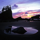 Picture - A beach with seastacks at sunset on Second Beach in Olympic National Park.