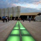 Picture - Lit path to the Olympic Stadium in Athens.