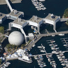 Picture - An aerial view over Ontario Place in Toronto.