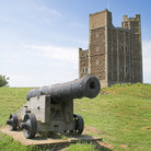 Picture - Cannon and Castle Keep in Orford.