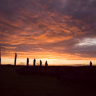 Picture - Sunset over the Ring of Brodgar in the Orkney Islands.
