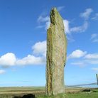 Picture - A single standing stone at the Ring of Brodgar in the Orkney Islands.