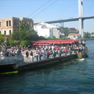 Picture - Tourists waiting for the ferry in Ortakoy Istanbul.
